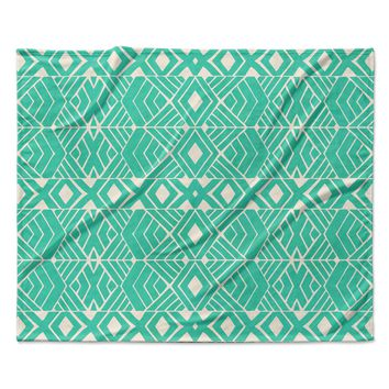 "Pom Graphic Design ""Going Native"" Teal Fleece Throw Blanket"