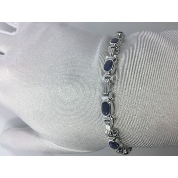 Handmade Genuine Blue Iolite Rhodium Finished 925 Sterling Silver Tennis Bracelet