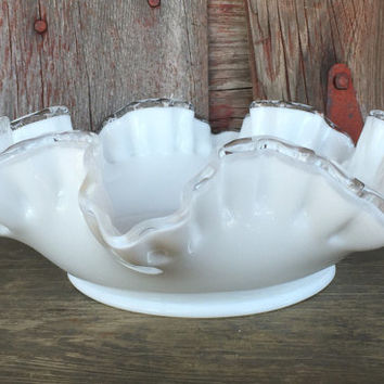 Vintage Fenton White Milk Glass Bowl, Fenton glass bowl crimped ruffled edge, Fenton silver crest bowl, vintage wedding serving glassware