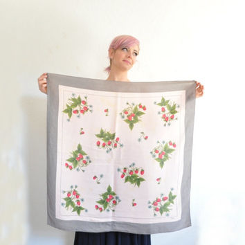 vintage Echo STRAWBERRY scarf . pastel pink gray silk . fruit print handkerchief