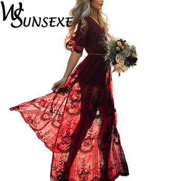 2017 Summer Women Long Dresses Retro Boho Maxi Dress Sexy Elegant Deep Vneck Floral Beach Dresses with Sashes For Ladies Vestido