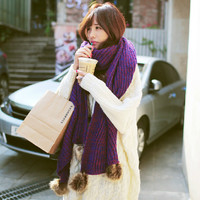 Students kawaii gradient wool scarf