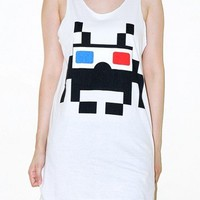 Space Invaders 3D Glasses Game White Tank Top Punk Rock Shirt Size S