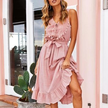 Bohemian linen sleeveless midi dress women White hollow out dress female Lace up tassel holiday beach vestidos