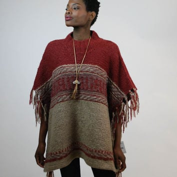 Free People - Fringe Poncho - Rust