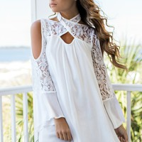 Casablanca White Solid Open Shoulder Dress