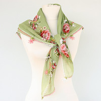 Needlework scarf Cotton summer scarf Yemeni square scarf Oya handmade turkish lacework
