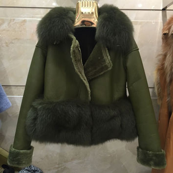 Hot selling women's winter jacket ,celebrity brand real suede leather fur Coat,thick warm real Fox Fur Collar Lamb Fur Coats