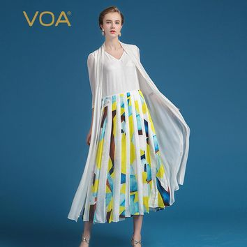 VOA 2017 Summer Silk Women White Casual Dresses Fashion V-neck Plus Size Fake Two Piece Set Cloak Print Pleated Dresses ALA00301