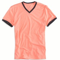 AE Legend Ringer V-Neck T-Shirt, Bright Neon Red | American Eagle Outfitters