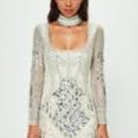 Missguided - Peace + Love White Choker Neck Embellished Bodycon Dress