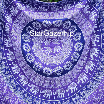 Full Queen Tapestry Elephant Mandala Bed Sheet Bohemian Wallhan