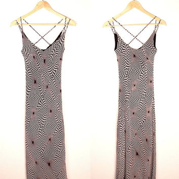 1990s op art checker print dress // bias cut // criss cross straps