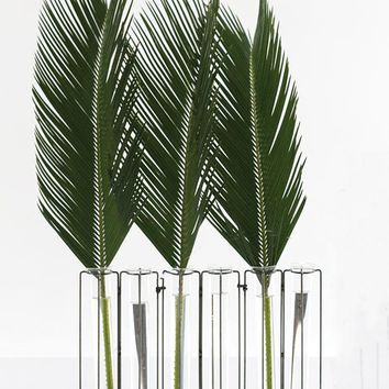 """Metal Beeline Plant Stand with Glass Tube Vases - 10.5"""" Tall x 14.75"""" Wide"""