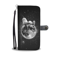 QIYIF Snoopy Napping On The Moon Wallet Phone Case