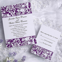 Traditional purple and white floral wedding invitation EWI031