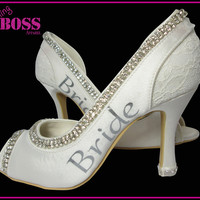 Wedding Heels Shoes Ivory Bride Bridal High Pumps Open Peep Toe Low Heel Rhinestone Bling Crystal Satin