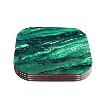"Ebi Emporium ""Agate Magic - Teal Green Multi"" Jade Painting Coasters (Set of 4)"