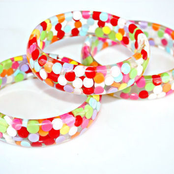Colorful Candy Bangle Bracelet - Round Bangle Complete with Multicolor Colorful Candy Circles by Mei Faith