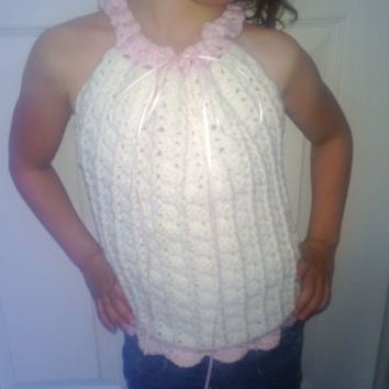Ready to ship, Crochet Girl's Drawstring Halter. Pink & White. Size 5T