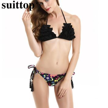 suittop Swimming Suit Women Sexy Bikini Halter Strappy Brazilian Biquinis Printed Floral Tie Side Bottom Swimwear Bathing Suits