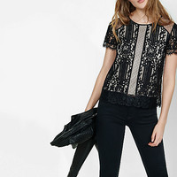 mixed mesh and lace tee