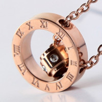 Fashionable temperament bao jia print inlay diamond necklace lovers men and women plated 18k rose gold double ring necklace