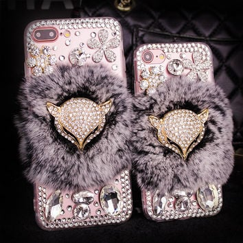 For Samsung Galaxy S5 S6 S7 Edge Plus 3D Bling Crystal Diamond Fox Rabbit Fur Furry Case Cover For iPhone 7 Plus 6 6S Plus 5S 5