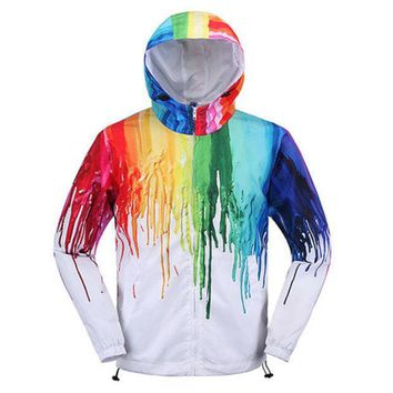 Art Creative Painting Color Couple fashion Hooded Zipper Cardigan Sweatshirt Jacket Coat Windbreaker Sportswear