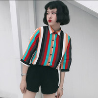 Spring and summer women Korean fashion color wide stripes seven sleeves chiffon shirt