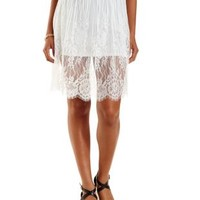 White Scalloped Lace Full Midi Skirt by Charlotte Russe