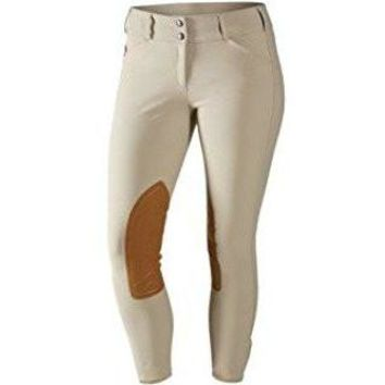 TS Tan w/Tan Knee Patch Mid-Rise Front Zip Breech