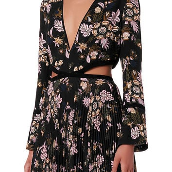 A.L.C. Josefa Cut Out Pleated Print Gown - INTERMIX