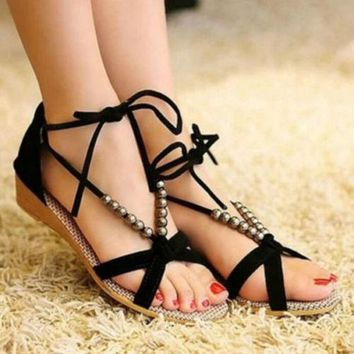Women Sandals Shoes Gladiator Thong Flops T Strap Flip Flat Size Strappy Toe