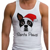 Santa Paws Christmas Dog Mens Ribbed Tank Top