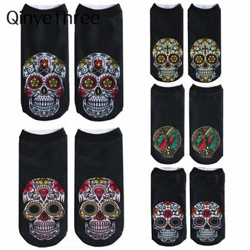 2018 New arrival Women Low Cut Ankle Socks Funny Skull 3D Printing Sock Cotton Hosiery Gothic Punk Shantou Printed Sock