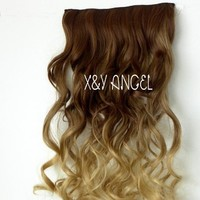 X&Y ANGEL -New Two Tone One Piece Long Curl/curly/wavy Synthetic Thick Hair Extensions Clip-on Hairpieces 16 Colors (brown to milk tea)