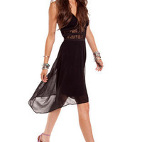 Solid Cutout Long Dress :: tobi