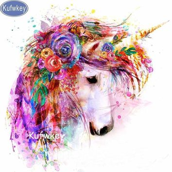 5D Diamond Painting Abstract Flower Unicorn Kit