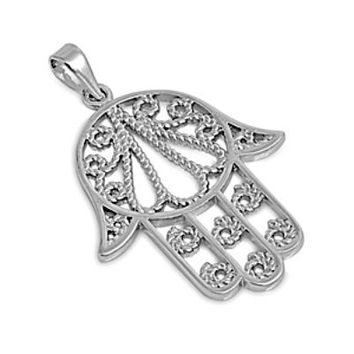 Sterling Silver Large Hand of God Cable Rope Twist pendant - Large