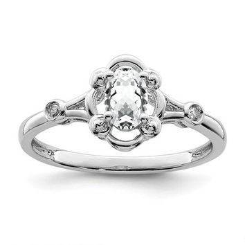 Sterling Silver White Topaz Oval & Diamond Ring