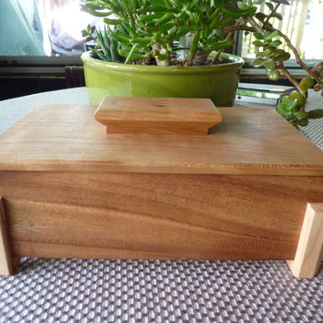 Handcrafted Monkey Pod and Cherry Lift Lid Jewelry/ Keepsake Box