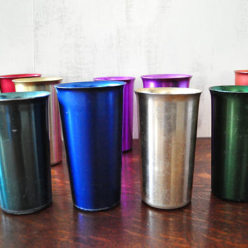 Vintage Aluminum Cup Set, Mismatched Drinkware, Colorful Metal Drinking Glasses