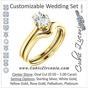 CZ Wedding Set, featuring The Julia engagement ring (Customizable Thin-Band Oval Cut Solitaire)