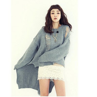 Distressed Loose Asymmetrical Sweater