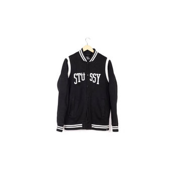 stussy authentic arc varsity jacket / size large / black and white / athletic / minimal / hip hop / asap / sweater