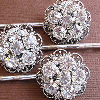 Wedding  Hair Pins- Set of 3- Bridal Accessories- Crystal Accessories, Brilliant Sparkle Collection