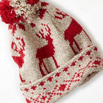AEO 's Reindeer Beanie (Oatmeal Heather)