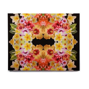 "Danii Pollehn ""Flower Caleidoscope"" Yellow Orange Contemporary Floral Photography Digital Birchwood Wall Art"