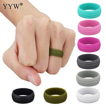 1PC Multicolor Hypoallergenic Crossfit Flexible Rubber Band Silicone Band Wedding Ring Vintage Engagement Rings for Women 9MM